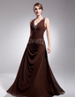 A-Line/Princess V-neck Floor-Length Chiffon Mother of the Bride Dress With Ruffle Beading (008014543)