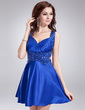 A-Line/Princess Sweetheart Short/Mini Charmeuse Homecoming Dress With Ruffle Beading Sequins (022021024)