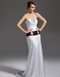 Trumpet/Mermaid Strapless Court Train Charmeuse Wedding Dress With Ruffle Sash Beading (002011502)