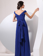 A-Line/Princess Off-the-Shoulder Floor-Length Chiffon Mother of the Bride Dress With Ruffle Bow(s) (008014071)