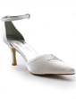 Women's Satin Cone Heel Closed Toe Pumps With Buckle Rhinestone (047005158)