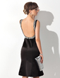Trumpet/Mermaid Scoop Neck Knee-Length Satin Mother of the Bride Dress With Beading (008015138)