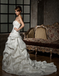 Ball-Gown Sweetheart Chapel Train Taffeta Wedding Dress With Ruffle Beading Sequins (002012016)