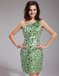Sheath/Column One-Shoulder Short/Mini Charmeuse Prom Dress With Beading Sequins (018019182)