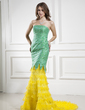 Trumpet/Mermaid Strapless Court Train Organza Lace Prom Dress With Ruffle Cascading Ruffles (018015436)
