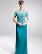 Sheath/Column Scoop Neck Sweep Train Charmeuse Lace Mother of the Bride Dress With Beading Sequins (008005926)