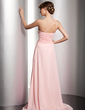 A-Line/Princess One-Shoulder Sweep Train Chiffon Prom Dress With Ruffle Beading Flower(s) (018014537)