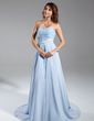 A-Line/Princess Strapless Chapel Train Chiffon Evening Dress With Ruffle Beading (017015326)