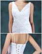 A-Line/Princess V-neck Floor-Length Satin Organza Wedding Dress With Beading Sequins Cascading Ruffles (002024405)