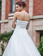 Ball-Gown Strapless Cathedral Train Satin Organza Wedding Dress With Ruffle Lace Beading Bow(s) (002001307)