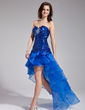 A-Line/Princess Sweetheart Asymmetrical Organza Sequined Prom Dress With Beading Cascading Ruffles (018018891)