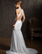 Trumpet/Mermaid Scoop Neck Court Train Chiffon Wedding Dress With Ruffle Beading (002011618)