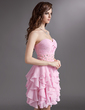 A-Line/Princess Sweetheart Knee-Length Chiffon Homecoming Dress With Beading Cascading Ruffles (022016293)
