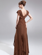 A-Line/Princess V-neck Floor-Length Chiffon Mother of the Bride Dress With Beading Cascading Ruffles (008006059)