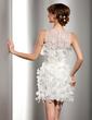 Sheath/Column Scoop Neck Short/Mini Satin Organza Wedding Dress With Ruffle Flower(s) (002014506)