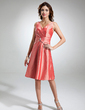 A-Line/Princess V-neck Knee-Length Taffeta Bridesmaid Dress With Ruffle Crystal Brooch (007006369)