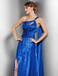 A-Line/Princess One-Shoulder Floor-Length Charmeuse Evening Dress With Ruffle Beading Split Front (017014554)