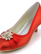 Women's Sparkling Glitter Cone Heel Closed Toe Pumps With Bowknot Imitation Pearl (047039650)