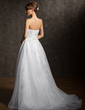 A-Line/Princess Sweetheart Court Train Organza Lace Wedding Dress With Appliques Lace (002012043)
