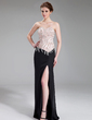 Sheath/Column Sweetheart Floor-Length Chiffon Charmeuse Evening Dress With Beading Sequins Split Front (017019560)