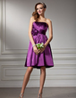 Empire Strapless Knee-Length Charmeuse Homecoming Dress With Ruffle Flower(s) (022003369)