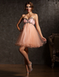 Empire Sweetheart Short/Mini Tulle Homecoming Dress With Ruffle Beading (022008996)