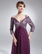 A-Line/Princess Off-the-Shoulder Sweep Train Chiffon Lace Mother of the Bride Dress With Beading Sequins (008005987)