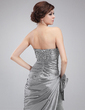Sheath/Column Sweetheart Floor-Length Taffeta Tulle Prom Dress With Beading Sequins Bow(s) Cascading Ruffles (018004873)