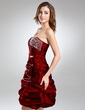 A-Line/Princess Sweetheart Knee-Length Taffeta Cocktail Dress With Ruffle Beading (016015529)