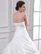 Ball-Gown Strapless Cathedral Train Taffeta Organza Wedding Dress With Lace Beading Cascading Ruffles (002001224)