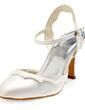 Saten Kalın Topuk Kapalı Parmak Topuktan Bağlı Bağcıksız Düğün Ayakkabıları Ile İmitasyon İnci Fırfır (047010756)