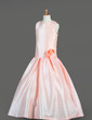 A-Line/Princess Floor-length Flower Girl Dress - Taffeta Sleeveless Scoop Neck With Flower(s) (010014651)