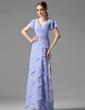 Çan/Prenses V Yaka Uzun Etekli Chiffon Gelin Annesi Elbisesi (008002220)
