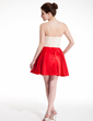 A-Line/Princess Sweetheart Short/Mini Charmeuse Homecoming Dress With Beading (022020871)