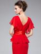 Trumpet/Mermaid V-neck Tea-Length Chiffon Mother of the Bride Dress With Beading Cascading Ruffles (008042308)