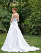 A-Line/Princess Sweetheart Chapel Train Satin Wedding Dress With Ruffle (002000613)
