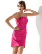 Sheath/Column Scalloped Neck Short/Mini Charmeuse Holiday Dress With Ruffle (020003257)
