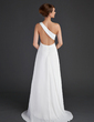 Empire One-Shoulder Sweep Train Chiffon Holiday Dress With Ruffle Beading Appliques Lace (020015637)