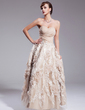 A-Line/Princess Sweetheart Ankle-Length Chiffon Wedding Dress With Ruffle Appliques Lace Flower(s) Sequins (002012841)