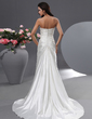 A-Line/Princess Sweetheart Court Train Charmeuse Wedding Dress With Ruffle (002022761)