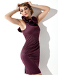 Sheath/Column Scoop Neck Short/Mini Charmeuse Mother of the Bride Dress With Cascading Ruffles (008013758)
