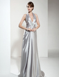 A-Line/Princess Halter Sweep Train Charmeuse Evening Dress With Ruffle Beading (017020665)