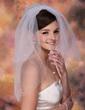 2 couches Voile de mariée longueur coude avec Bord de coupe (006003767)