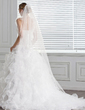 Ball-Gown One-Shoulder Chapel Train Organza Wedding Dress With Flower(s) Cascading Ruffles (002000590)