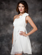Empire One-Shoulder Short/Mini Chiffon Holiday Dress With Ruffle Flower(s) (020003254)
