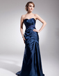 Trumpet/Mermaid Sweetheart Sweep Train Charmeuse Evening Dress With Ruffle (017014565)