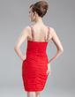 Sheath/Column V-neck Short/Mini Chiffon Mother of the Bride Dress With Ruffle Beading (008016265)