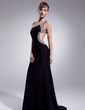 Sheath/Column One-Shoulder Sweep Train Chiffon Prom Dress With Ruffle Beading (018004918)