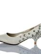 Women's Satin Kitten Heel Closed Toe Pumps With Rhinestone (047033930)