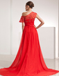A-Line/Princess Off-the-Shoulder Chapel Train Chiffon Evening Dress With Ruffle Appliques Lace Split Front (017014210)